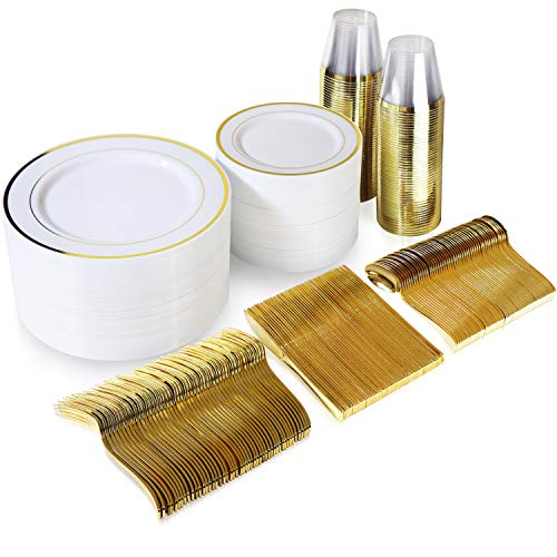 600 Piece Gold Dinnerware Set – 200 White and Gold Plastic Plates – Set of 300 Gold Plastic Silverware – 100 Gold Plastic Cups – Disposable Gold Dinnerware Set for Party or Wedding up to 100 G