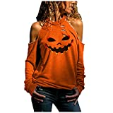 Lenfeshing Blusa Casual de Manga Larga con Hombros Descubiertos para Mujer Camisa Naranja Ahuecada de Halloween