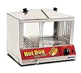 Omcan 40305 100 Hotdog Steamer Machine & 48 Bun Warmer Commercial Hot Dog Cooker
