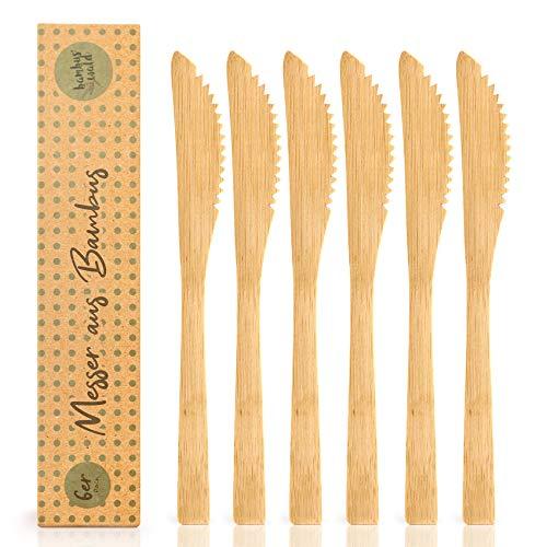 bambuswald© 6 Stück plastikfreie Messer aus 100% Bambus - ökogisch & nachhaltiges Essbesteck | Besteck ideal für Grillparty, Picknick, Camping - Reisebesteck Partybesteck Grillbesteck