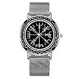 Reloj de pulsera minimalista de cuarzo Elite ultra delgado impermeable con fecha con banda de malla 392. Vegvisir Protección Brújula reloj de diseñador