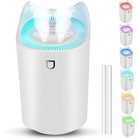StillCool Humidificador de Silencioso para Bebes, 3L 20 Horas Difusor de Aromas Ultrasónico Auto-Apagado con Luz Colorida, 2 Boquillas y 3 Modos para Dormitorio Oficina y Coche - Blanco