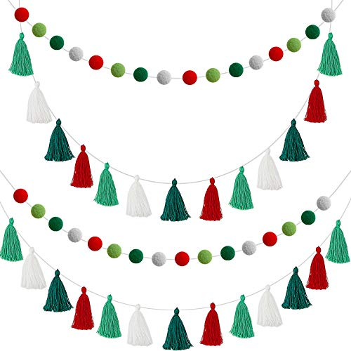 Syhood 4 Pieces Christmas Cotton Tassel Garland Pom Pom Ball Banner Christmas Tassel Banner Decorative Wall Hanging Bunting Ornament for Christmas Home Fireplace Wall Decoration, Pre-Assembled