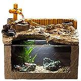 ANXWA Zimmerbrunnen Kleine Brunnen Mini Aquarium Wohnzimmer Kreative Schreibtisch Landschaft Glas Dekorative Ornamente Desktop Brunnen