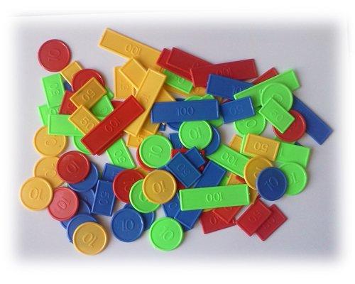 Equilibre et Aventure Jetons x 100 pour Poker, belote, rami, Tarot, Nain Jaune,... : 1 Boite de 100 jetons en Plastique en 4 Couleurs