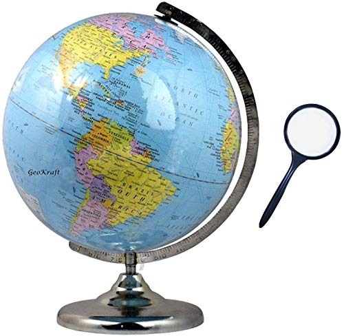 GeoKraft Educational 12 Inches Height Metal Base Globe with Magnifying Glass /Home Decor/World Globe/Office Decor//Gift Item/Show Piece (Blue)