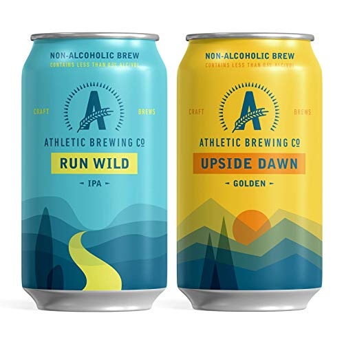 Athletic Brewing Company Craft NA - 6-Pack Run Wild IPA and 6-Pack Upside Dawn - Low-Calorie, Award Winning - All Natural Ingredients For A Great Tasting Drink - 12 Fl Oz Cans