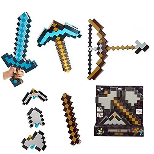 Toy Rollenspiel Und Transformationsspielzeug Pixel Mosaik Pfeil Und Bogen Spielzeugset + Blue Diamond Schwert & Spitzhacke Set + 3-in-1 Pick Schaufel Und Axt Kombination Spielzeug