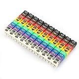 0-9 Digital Codificado Clip en Plástico Identificación Cable Marcador Alambre Etiqueta Alambre Juego Tubo Marcador Cable Colorido (100pcs KCM-4MM 4 Cuadrado)
