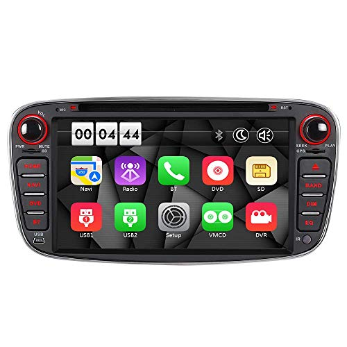 "16GB Radio Navi DVD GPS USB SD Bluetooth Autoradio CD Dual-Zone Subwoofer-Output DAB+ Mirrorlink VMCD mp3 mp4 7"" Touch Screen für F ord Mondeo mk4, Focus mk2, C-Max S-Max Galaxy Kuga (Schwarz)"