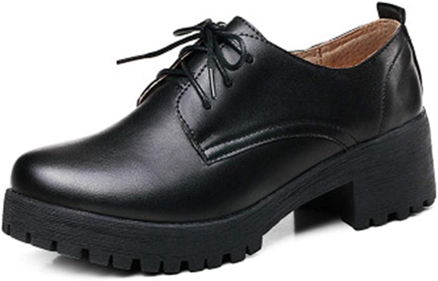 Beautiful - Fashion Women's Chunky Platform Oxfords shoes Wingtip Lace Up Mid Heel Casual Dress Wedge Oxford Brogue