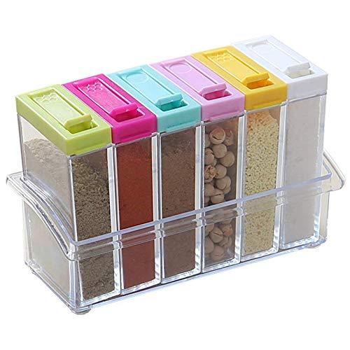 Kuinayouyi 6 frascos de especias de caso,Salero y pimentero de plástico con tapa,Almacenamiento de contenedores de almacenamiento transparente para condimentos