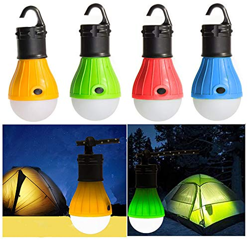 4Pc Outdoor Portable Hanging LED Camping Tent Light Bulb Fishing Lantern Lamp