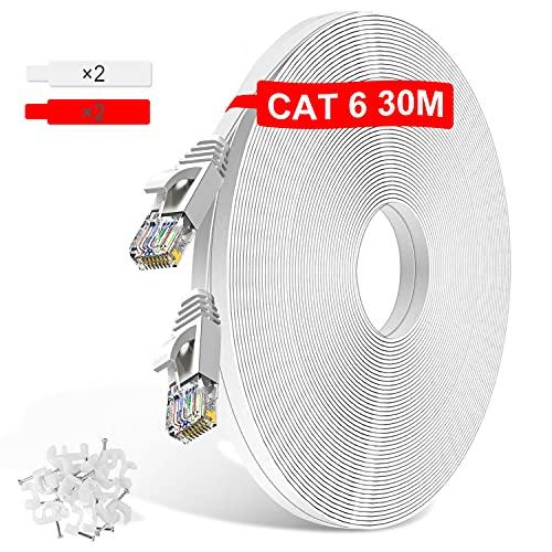 TBMax 30m Cat6 Netzwerkkabel -Flach Ethernet Kabel 10/100/1000 Mbit/s Gigabit LAN Kabel 30 Meter RJ45 Patchkabel UTP Internetkabel compatibel zu CAT.5/CAT.5e, für Router, Modem, PC, Switch, Xbox, PS5