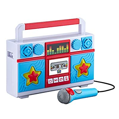 Mother Goose Club Sing Along Boombox with Microphone, Built in Music, Flashing Lights, Real Working Mic for Kids Karaoke Machine, Connects Mp3 Player Aux in Audio Device from Kid designs