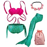 Lx-Top Queue de sirène Enfant Mermaid Bikini 3 pièces Maillot de Bain Princesse