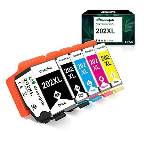 Greenjob 202XL - Cartuchos de tinta de repuesto para Epson 202 XL compatibles con Epson Expression Premium XP-6000, XP-6005, XP-6100 y XP-6105 (1 negro, 1 foto negro, 1 cian, 1 magenta y 1 amarillo)