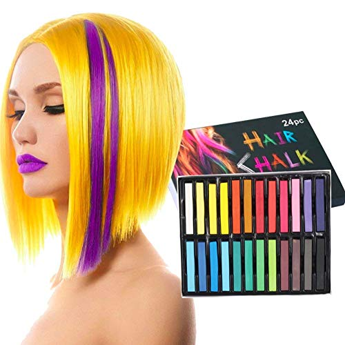 Ancdream Tiza de Pelo, Cabello Tiza, Tiza para el Cabello, Coloración temporal Cabello, Hair Chalk Set, 24 Colores Temporal Tiza de Pelo No Tóxicas Lavables Color de Tiza Para Niños DIY Fiesta