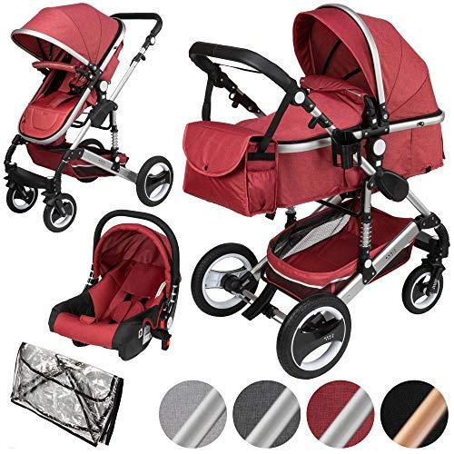 ib style SOLE 3 in 1 carrozzina combi | incl. Segglino auto | incl. zanzara & parapioggia | 0-15kg | 4 colori | Rosso