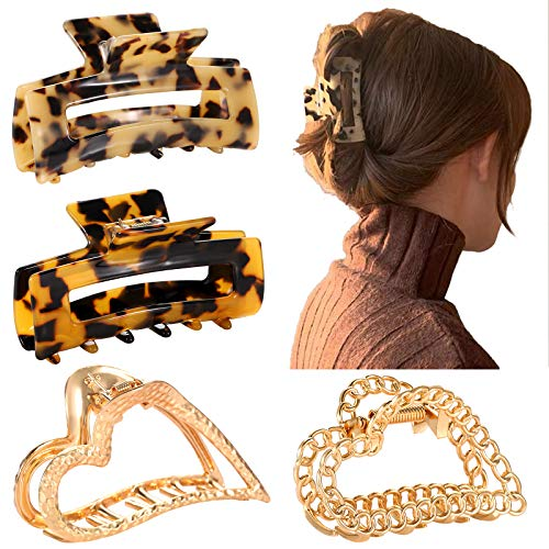 BSJELL 4Pcs Large Hair Clips for Women Leopard Tortoise Big Hair Claw Clips Metal Heart Shape Hair Jaw Clips