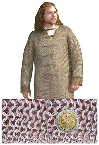 Haubert – Chemise cotte de maille médiévale manches longues - XL - 152cm max. tour de poitrine » 9mm ID anneaux plats » moitié rivetés avec des rivets en forme de coin - Get Dressed for Battle