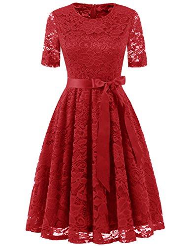 DRESSTELLS Elegant Damen Hochzeit Cocktail Spitzenkleid Rundhalsausschnitt Kurzarm Abendkleid Red XL