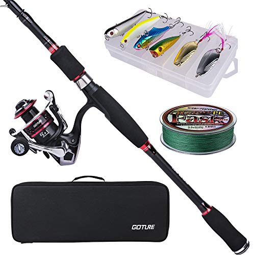 Goture Fishing Tackle Sets, Portable 7ft Carbon Fiber Spinning Lure Rod Reel Set with Line Bait Suit Tackle Carrier Delicate Bag for Beginners Bass, Fresh&Saltwater