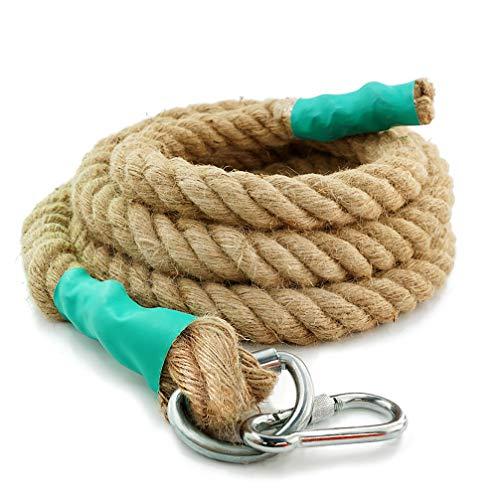 Aoneky Cuerda para Trepar de Yute - 30/40/50mm, 3-9M, Cuerda de Escalada con Mosquetón, Cuerda de Trepa para Crossfit Entrenamiento Gimnasio, Accesorios Deportivos para Adultos Niños, Marrón