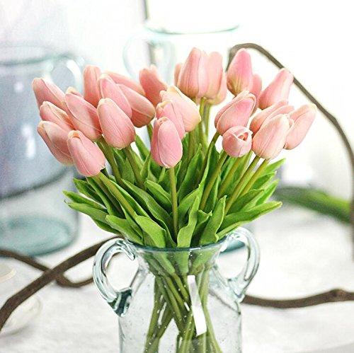 Supla Künstliche Tulpen, einzelner Stiel, 20 Köpfe, fühlt sich echt an, Kunst-Tulpen, Blumenarrangement, Bouquet, Zuhause, Zimmer, Büro, Tafelaufsatz, Party, Hochzeit, Dekoration, weiß rose