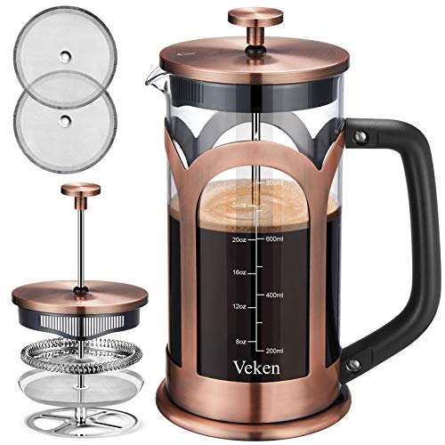 Veken French Press Coffee amp Tea Maker 304 Stainless Steel Heat Resistant Borosilicate Glass Coffee Press with 4 Filter Screens Durable Easy Clean 100% BPA Free 34oz Copper