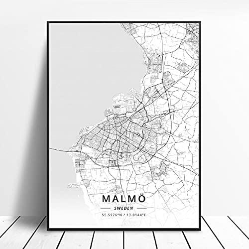 Lldkoplng Uppsala Linkoping Malmö Trollhättan Helslngborg Sweden Canvas Art Map Poster ?ZQ-1393? Ingen ram poster 40x50cm