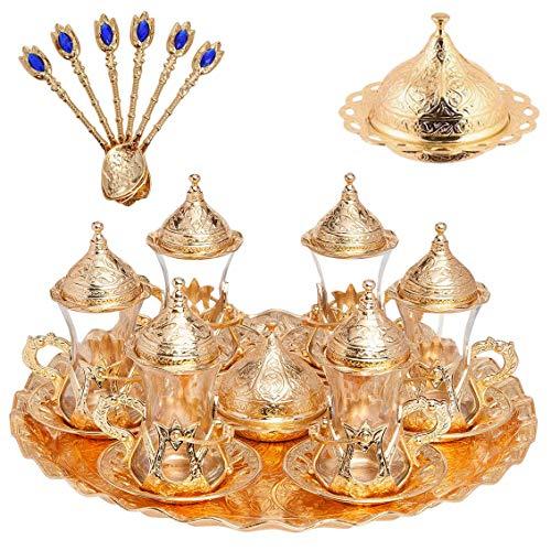 Alisveristime Handgefertigtes türkisches Tee-/Wasser-/Zamzam-Servierset mit Gläsern, Untertasse, Tablett und Löffel (Gold)