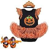FYMNSI Bebé Recién Nacido Mi Primer Disfraz de Halloween Niña 3 Piezas de Ropa Infantil de Halloween Calabaza Calavera Tutu Vestido de Mameluco con Diadema Zapatos Conjunto 0-3 Meses