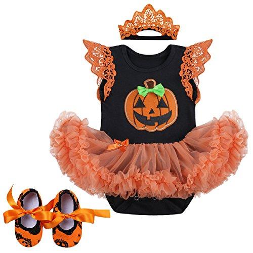 FYMNSI Beb Recin Nacido Mi Primer Disfraz de Halloween Nia 3 Piezas de Ropa Infantil de Halloween Calabaza Calavera Tutu Vestido de Mameluco con Diadema Zapatos Conjunto 6-12 Meses