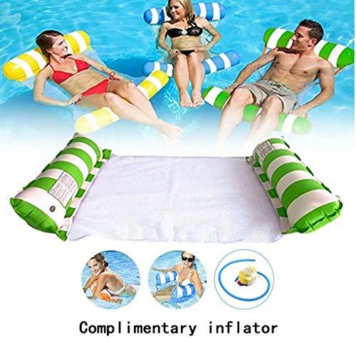 Hamaca flotante premium para piscina, cojín flotante, playa, piscina, lounge flotador para adultos dispositivos flotantes, verde
