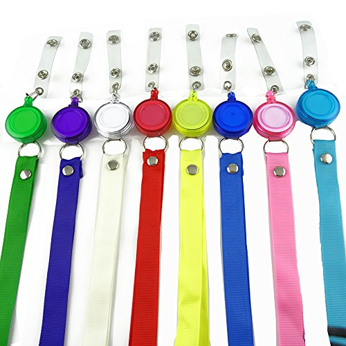 Honbay 8 Pieces Translucent Retractable Badge Holder Reel Key Chain Reel with Lanyard Neck Strap for Key Cards and ID Cards