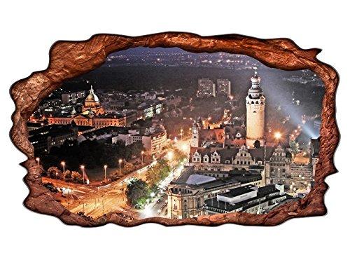 3D Wandmotiv Leipzig Skyline Schloss Fenster Bild Wandbild selbstklebend Wandtattoo Wohnzimmer Wand Aufkleber 11E274, Wandbild Größe E:98cmx58cm