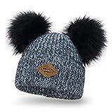 Solvera_Ltd Damen Strickmütze Wintermütze mit Zwei Bommel Beanies Bommelmütze Pudelmütze Winter Hüte für Frauen Mädchen (Marineblau)
