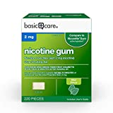 Amazon Basic Care Nicotine Polacrilex Gum 2 mg (nicotine), Mint Flavor, Stop Smoking Aid; quit smoking with nicotine gum, 220 Count