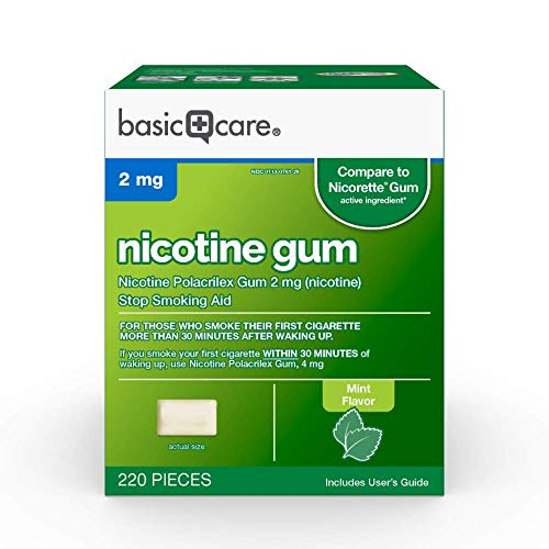 Basic Care Nicotine Gum, 4mg, Mint Flavor, 220 Count