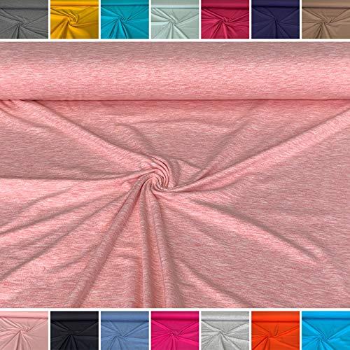 babrause® Jersey uni meliert rosa - Baumwolljersey - Ökotex - Ab 0,5 Meter