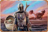 RuFS The Mandalorian and The Child At Sunset Cartel de Chapa Pared Hierro Retro Pintura Placa Chapa ...