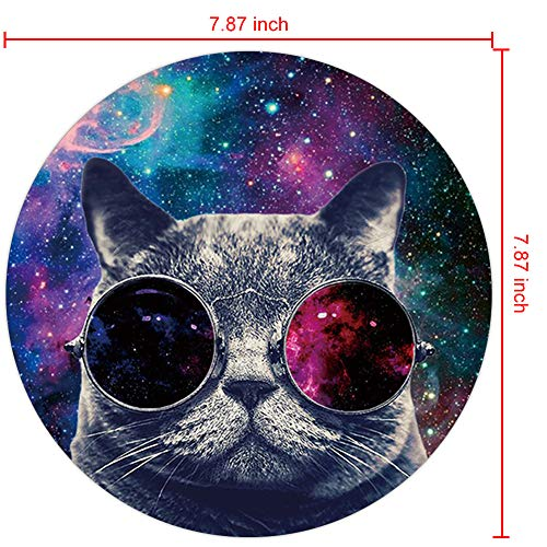 Marphe Mouse Pad Mousepad Non-Slip Rubber Gaming Mouse Pad Round Mouse Pads for Computers Laptop (Nebula Space Cat) Photo #4