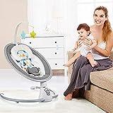 AIBAB Baby Schaukelstuhl Neugeborene Musik-Stretch-Stuhl Baby Elektrischer Leibwächter Schaukelstuhl Mit Fernbedienung/Geformtem Kissen/Bluetooth/Moskitonetz Wiegespielzeug