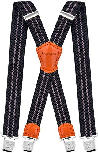 Decalen Hosenträger für Herren Breit 4 cm mit sehr Starken 4 Metall Clip Lang Einheitsgröße für Männer und Damen Einstellbar und Elastisch X Style (Schwarz Grau 1)