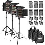 Neewer 3 Dimmbar Zweifarbig 660 LED-Videoleuchte mit Barndoor und 92-200 cm Lichtstativ (6) 6600 mAh...