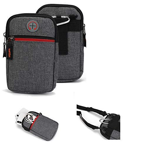 K-S-Trade Gürtel-Tasche Kompatibel Mit BlackBerry Key 2 LE Dual-SIM Handy-Tasche Holster Schutz-hülle Grau Zusatzfächer 1x