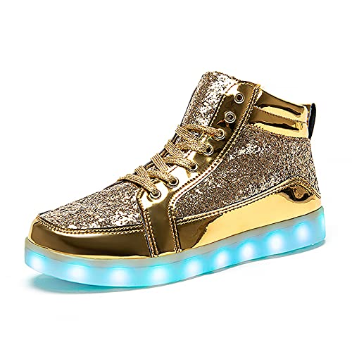 IGxx LED Light Up Sneakers for Men USB Recharging High Top LED Shoes Women Kids Gold