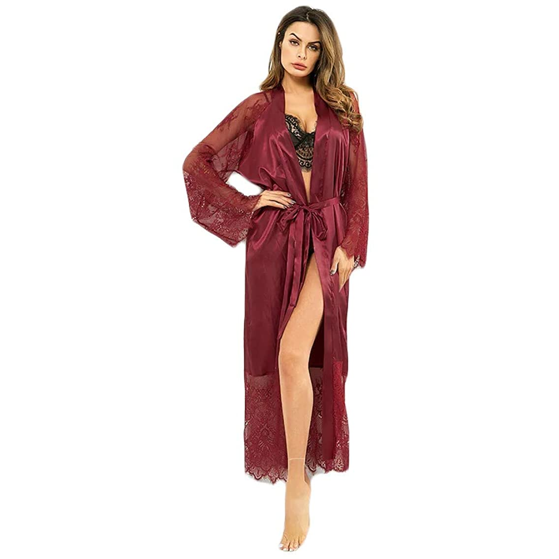 Womens Lace Trim Kimonos Robes Long Satin Gown Bathrobe Sleepwear Lace Sleeve Loungewear with Belt