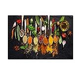 LXWWW Póster de Lienzo Cocina Pintura Decorativa Cuchara HD Ingrediente de condimento Impresión Arte de la Pared Decoración del hogar (30x40cm / 11.8 × 15.7 Pulgadas) Sin Marco